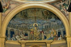 Christ Enthroned With the Apostles, 4th c. mosaic, Santa Prassede Basilica, Rome, Italy