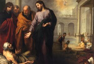 Christ Heals the Paralytic by Murillo Art Print Poster