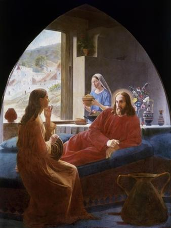 Jesus with Mary and Martha by Christen Dalsgaard