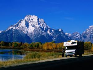Motorhome by Roadside, with Mountain in Distance, Grand Teton National Park, U.S.A. by Christer Fredriksson