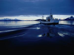 Fishing Boat Plowing Through Calm Waters Outside of Lofoten, Lofoten, Nordland, Norway by Christian Aslund