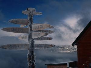 Frozen Signpost, Narvik, Nordland, Norway by Christian Aslund