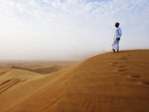 Man Standing on Sand Dune Looking Out on Arabian Desert by Christian Aslund