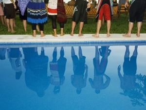 Reflections in the Pool, at Poolside New Year Celebration. by Christian Aslund