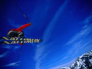 Skier Jumping on a Quarter Pipe, Stryn, Sogn Og Fjordane, Norway by Christian Aslund