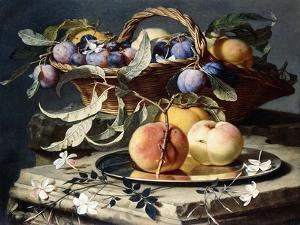 Peaches and Plums in a Wicker Basket, Peaches on a Silver Dish and Narcissi on Stone Plinths by Christian Berentz