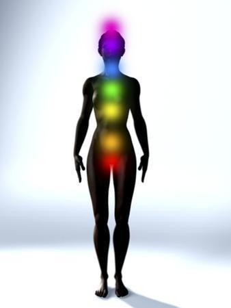 Chakra Energy Points, Computer Artwork by Christian Darkin