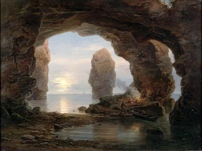 Fisherman in a Grotto, Helgoland, 1850