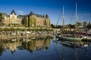 Canada, British Columbia, Vancouver Island, Victoria, Harbor and Empress Hotel by Christian Heeb
