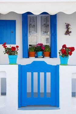 Europe, Greece, Cyclades Island,Aegean Sea, Mykonos, Myconos, Blue Gate at Private Home by Christian Heeb