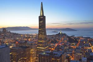 From Hotel Mandarin Oriental Towards Transamerica Pyramid and Coit Tower, San Francisco, California by Christian Heeb