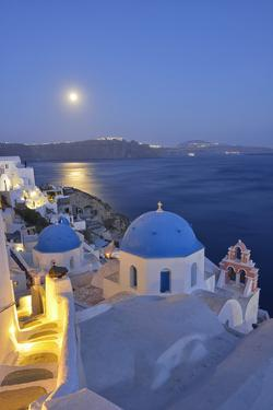 Moon over the Town of Oia, Santorini, Kyclades, South Aegean, Greece, Europe by Christian Heeb
