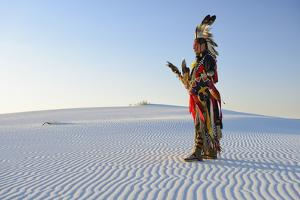 Native American in Full Regalia, White Sands National Monument, New Mexico, Usa Mr by Christian Heeb