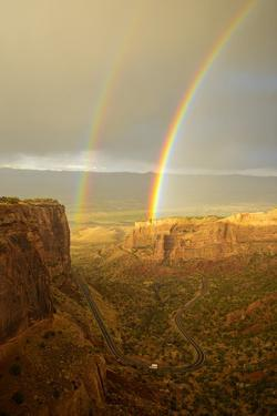 USA, Colorado, Mesa County, Double rainbow in the Colorado National Monument by Christian Heeb