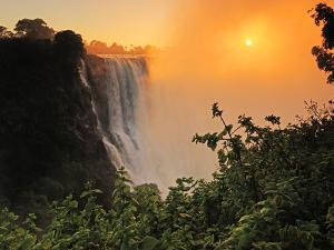 Victoria Falls at Sunrise, Zambezi River, Near Victoria Falls, Zimbabwe, Africa by Christian Heeb