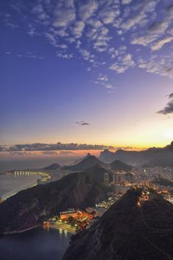 View from Sugar Loaf Mountain to Rio at Night,Rio De Janeiro, Brazil, South America by Christian Heeb