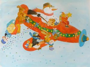 Chistmas Airplane with Snowman by Christian Kaempf