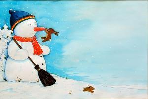 Snowman with Little Rabbit, 2012 by Christian Kaempf