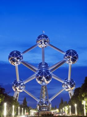 1958 World Fair, Atomium Model of An Iron Molecule, Illuminated at Night, Brussels, Belgium, Europe by Christian Kober