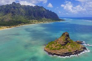 Aerial view by drone of Kaneohe Bay and Mokolii island (Chinaman's Hat), Oahu Island, Hawaii, USA by Christian Kober