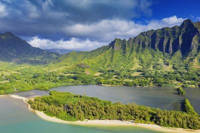 Aerial view by drone of Kaneohe Bay, Oahu Island, Hawaii, USA
