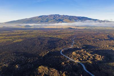 Aerial view of volcanic landscape and Mauna Kea, 4207m, Big Island, Hawaii, USA