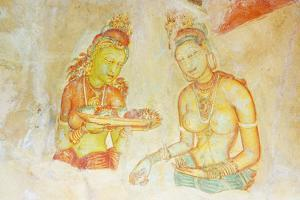 Ancient Frescoes, Sigiriya, UNESCO World Heritage Site, North Central Province, Sri Lanka, Asia by Christian Kober