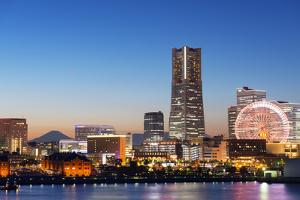 Asia, Japan, Honshu, Yokohama Bay, City Skyline and Mt Fuji, Landmark Tower by Christian Kober