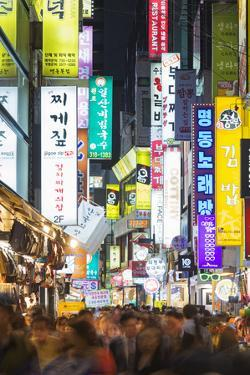 Asia, Republic of Korea, South Korea, Seoul, Neon Lit Streets of Myeong-Dong by Christian Kober