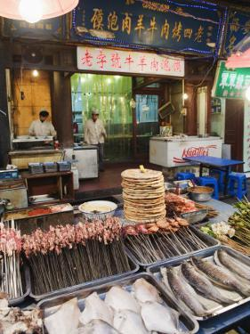 Barbeque Food at a Street Market in the Muslim Area of Xian, Shaanxi Province, China, Asia by Christian Kober