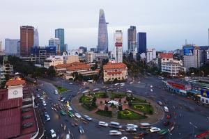 Ben Thanh Market Area and Bitexco Financial Tower, Ho Chi Minh City (Saigon), Vietnam, Indochina by Christian Kober