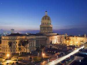 Capitolio Nacional Illuminated at Night, Central Havana, Cuba, West Indies, Caribbean by Christian Kober