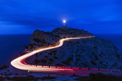 Car light trails, Cap Formentor lighthouse, Majorca, Balearic Islands, Spain, Mediterranean by Christian Kober