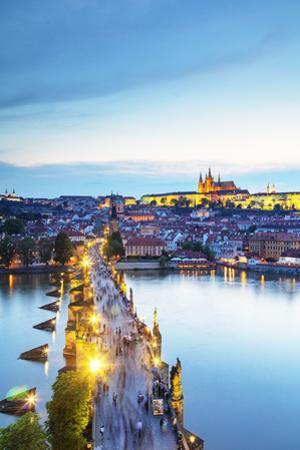 Charles Bridge, Prague Castle and St. Vitus Cathedral, Prague, Bohemia, Czech Republic by Christian Kober