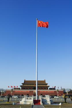 Chinese National Flag Infront of the Gate of Heavenly Peace in Tiananmen Square Beijing China by Christian Kober