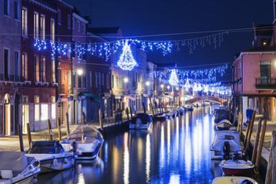 Christmas Decoration on a Canal at Night, Murano, Venice, UNESCO World Heritage Site, Veneto, Italy