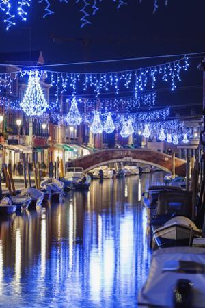 Christmas Decorations Reflected in a Canal, Murano, Venice, Veneto, Italy