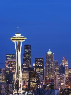 Downtown Buildings and the Space Needle, Seattle, Washington State by Christian Kober