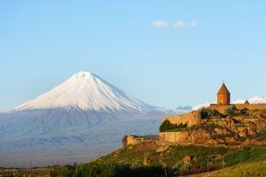 Eurasia, Caucasus Region, Armenia, Khor Virap Monastery; Lesser Ararat Near Mount Ararat in Turkey. by Christian Kober