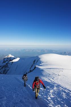 Europe, France, Haute Savoie, Rhone Alps, Chamonix Valley, Mont Blanc, Climbers on Mt Blanc by Christian Kober