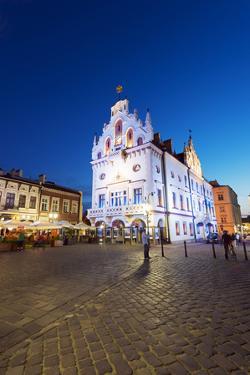 Europe, Poland, Rzeszow, Rynek Town Square, Neo-Gothic Style Town Hall by Christian Kober
