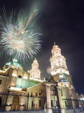Firework Display Over the Cathedral, Morelia, Michoacan State, Mexico, North America by Christian Kober