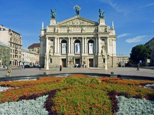 Floral Feature Outside the Lviv Theater of Opera and Ballet, Named after I,Franko by Christian Kober