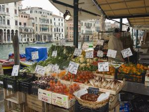 Fruit and Vegetable Stall at Canal Side Market, Venice, Veneto, Italy by Christian Kober