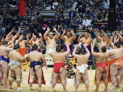 Fukuoka Sumo Competition, Entering the Ring Ceremony, Kyushu Basho, Fukuoka City, Kyushu, Japan by Christian Kober