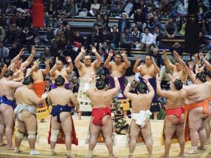 Fukuoka Sumo Competition, Entering the Ring Ceremony, Kyushu Basho, Fukuoka City, Kyushu, Japan by Christian Kober
