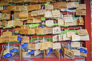 Iwakisan jinja shrine, wooden plaques with prayers and wishes, Japan by Christian Kober
