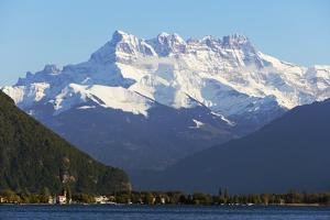 Lake Geneva (Lac Leman) and Dent du Midi, 3257m, Villeneuve, Vaud, Switzerland, Europe by Christian Kober