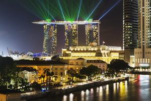 Marina Bay Sands Hotel and Fullerton Hotel, Singapore, Southeast Asia, Asia by Christian Kober