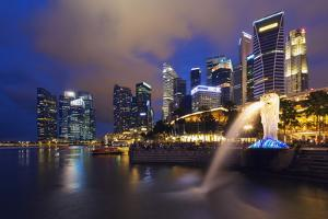 Merlion and Marina Bay Downtown Buildings, Singapore, Southeast Asia, Asia by Christian Kober